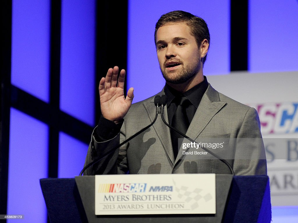 Sprint Cup Series driver Ricky Stenhouse Jr. speaks onstage after winning the Sunoco Rookie of the Year at the NMPA Myers Brothers Awards Luncheon at the Encore Las Vegas on December 5, 2013 in Las Vegas, Nevada.