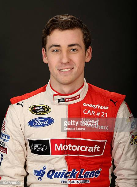 Sprint Cup Series driver Ryan Blaney poses for a portrait during day 1 of the 2016 Charlotte Motor Speedway Media Tour at NASCAR Hall of Fame on...