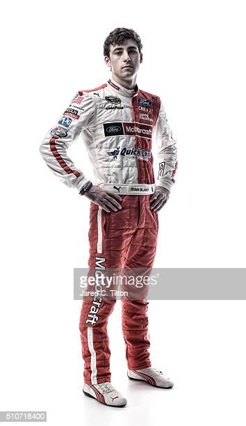 NASCAR Sprint Cup Series driver Ryan Blaney poses for a portrait during NASCAR Media Day at Daytona International Speedway on February 16 2016 in...
