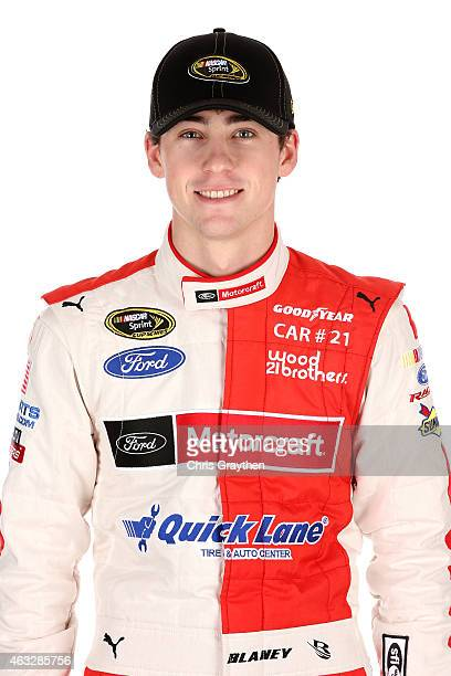 Sprint Cup Series driver Ryan Blaney poses for a portrait during the 2015 NASCAR Media Day at Daytona International Speedway on February 12 2015 in...