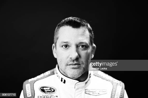 NASCAR Sprint Cup Series driver Tony Stewart poses for a portrait during day 3 of the 2016 Charlotte Motor Speedway Media Tour at NASCAR Hall of Fame...