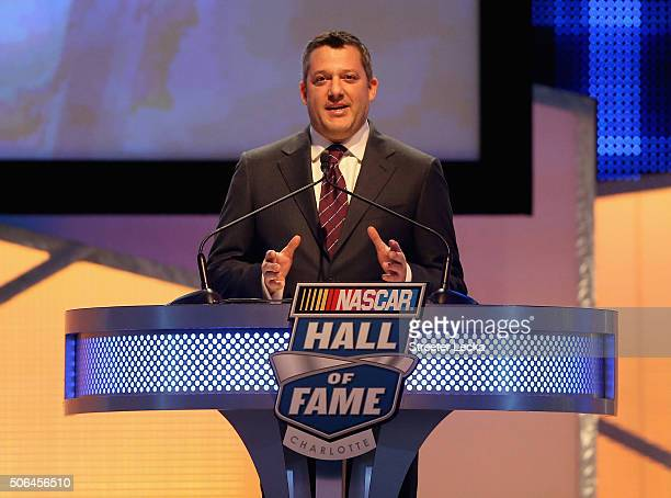 Sprint Cup Series driver Tony Stewart speaks during the NASCAR Hall of Fame Induction Ceremony on January 23 2016 in Charlotte North Carolina