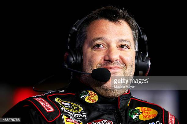 Sprint Cup Series driver Tony Stewart speaks to the media during the 2015 NASCAR Media Day at Daytona International Speedway on February 12 2015 in...