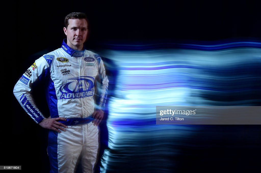 Sprint Cup Series driver <a gi-track='captionPersonalityLinkClicked' href=/galleries/search?phrase=Trevor+Bayne&family=editorial&specificpeople=5533943 ng-click='$event.stopPropagation()'>Trevor Bayne</a> poses for a portrait during NASCAR Media Day at Daytona International Speedway on February 16, 2016 in Daytona Beach, Florida.