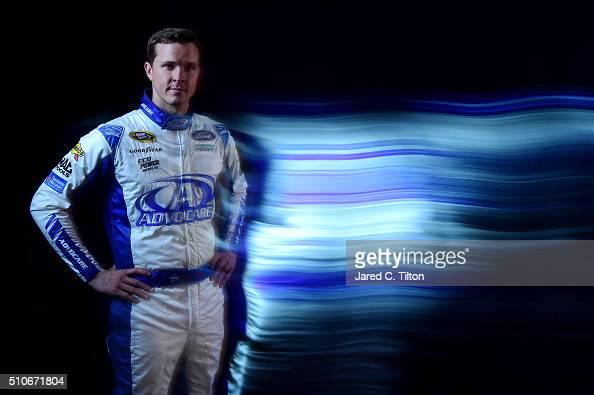 Sprint Cup Series driver Trevor Bayne poses for a portrait during NASCAR Media Day at Daytona International Speedway on February 16 2016 in Daytona...
