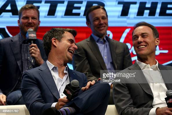 Sprint Cup Series drivers Jeff Gordon and Kevin Harvick react during the NASCAR After The Lap at the Palms Casino Resort on December 3 2015 in Las...