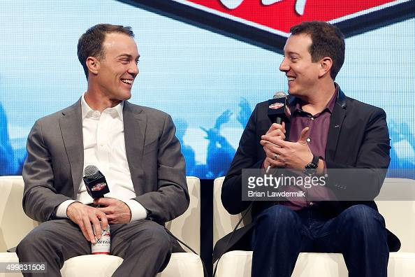 Sprint Cup Series drivers Kevin Harvick and Kyle Busch talk onstage during the NASCAR After The Lap at the Palms Casino Resort on December 3 2015 in...
