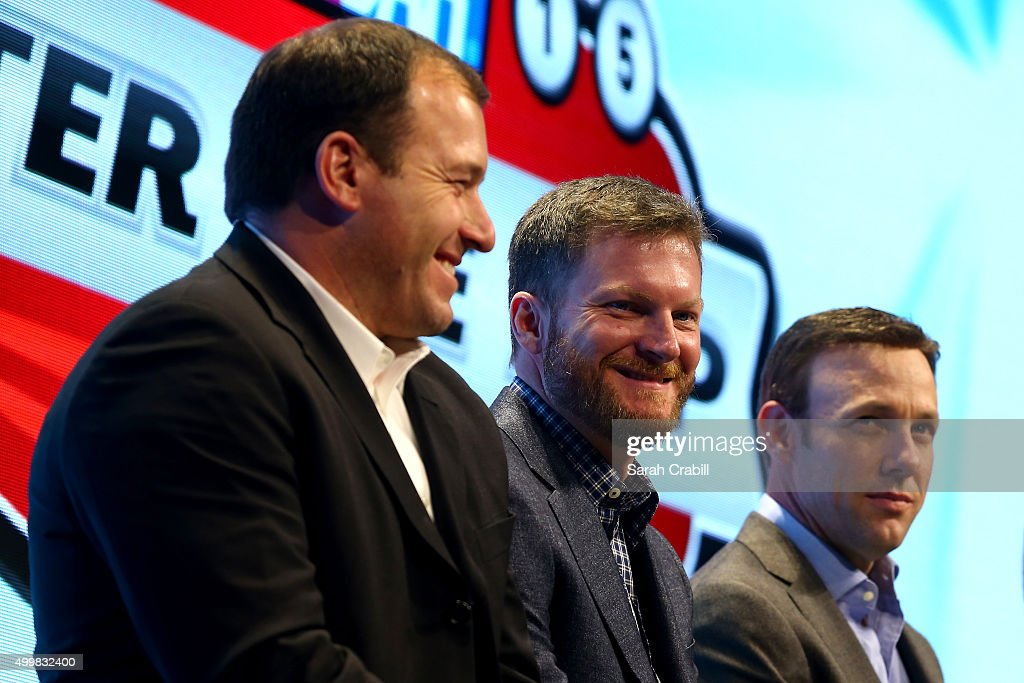 Sprint Cup Series drivers <a gi-track='captionPersonalityLinkClicked' href=/galleries/search?phrase=Ryan+Newman+-+Racerf%C3%B6rare&family=editorial&specificpeople=12773547 ng-click='$event.stopPropagation()'>Ryan Newman</a>, <a gi-track='captionPersonalityLinkClicked' href=/galleries/search?phrase=Dale+Earnhardt+Jr.&family=editorial&specificpeople=171293 ng-click='$event.stopPropagation()'>Dale Earnhardt Jr.</a>, and <a gi-track='captionPersonalityLinkClicked' href=/galleries/search?phrase=Matt+Kenseth&family=editorial&specificpeople=204192 ng-click='$event.stopPropagation()'>Matt Kenseth</a> react onstage during the NASCAR After The Lap at the Palms Casino Resort on December 3, 2015 in Las Vegas, Nevada.