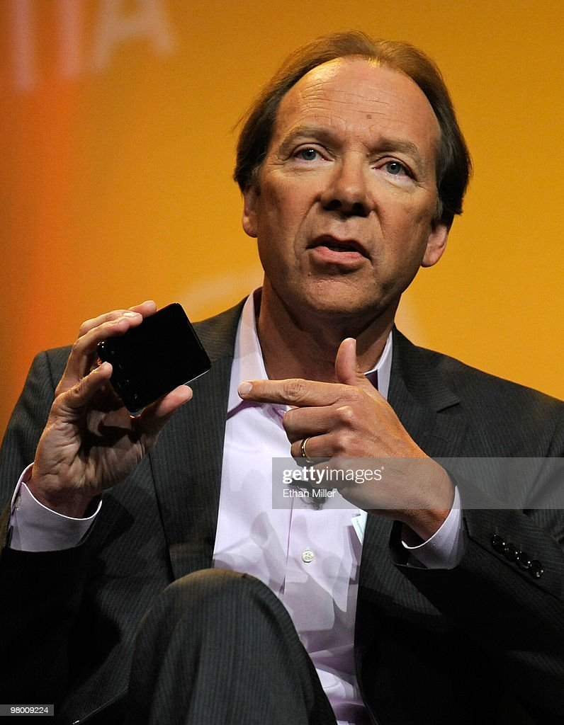 Sprint Nextel Corp. CEO Dan Hesse holds the new Sprint HTC Evo 4G smartphone as he speaks at the International CTIA Wireless 2010 convention at the Las Vegas Convention Center March 24, 2010 in Las Vegas, Nevada. CTIA is the international association for the wireless telecommunications industry.