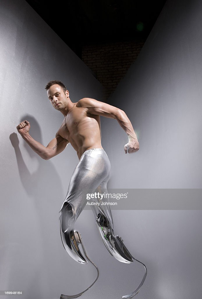 Sprint runner <a gi-track='captionPersonalityLinkClicked' href=/galleries/search?phrase=Oscar+Pistorius&family=editorial&specificpeople=224406 ng-click='$event.stopPropagation()'>Oscar Pistorius</a> is photographed for Heat magazine on April 4, 2011 in Johannesburg, South Africa.