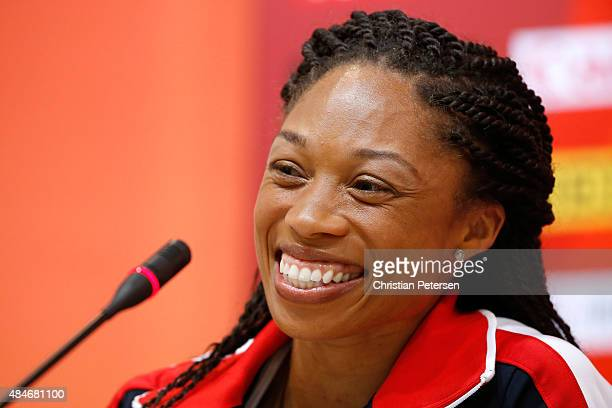 Sprinter Allyson Felix of the United States answers questions during a United States team news conference ahead of the 15th IAAF World Athletics...