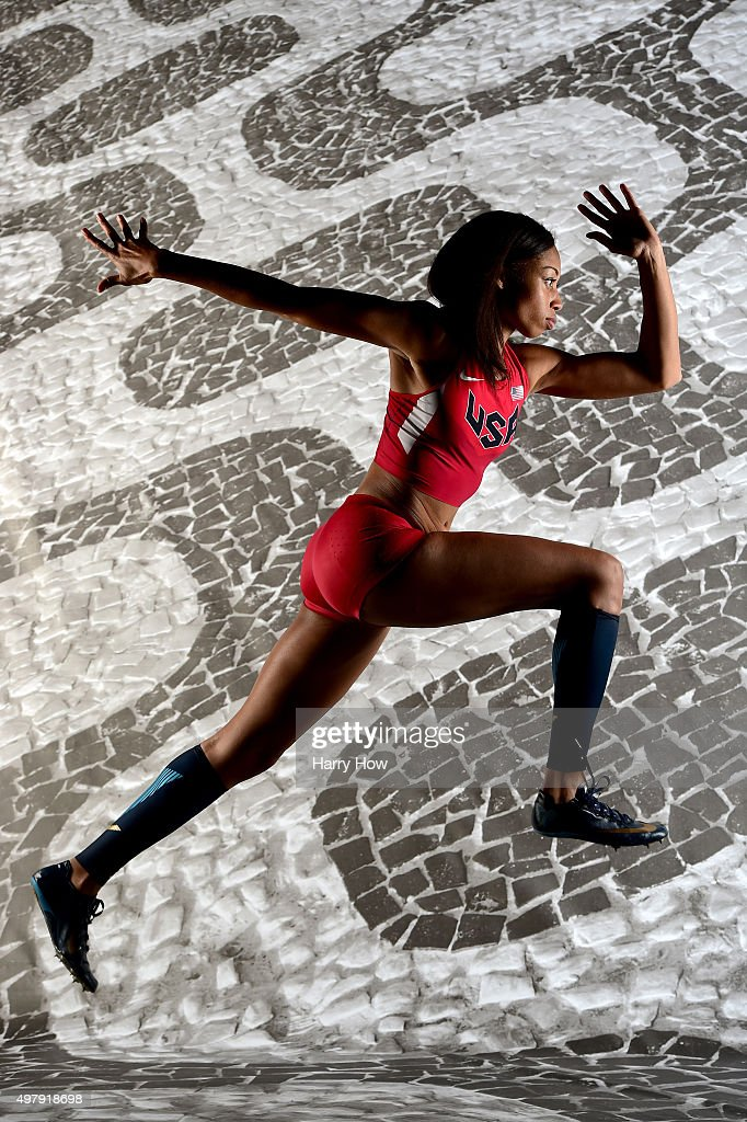 Sprinter <a gi-track='captionPersonalityLinkClicked' href=/galleries/search?phrase=Allyson+Felix&family=editorial&specificpeople=213459 ng-click='$event.stopPropagation()'>Allyson Felix</a> poses for a portrait at the USOC Rio Olympics Shoot at Quixote Studios on November 19, 2015 in Los Angeles, California.