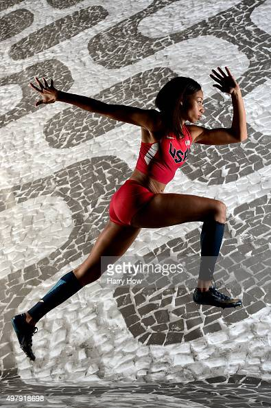Sprinter Allyson Felix poses for a portrait at the USOC Rio Olympics Shoot at Quixote Studios on November 19 2015 in Los Angeles California