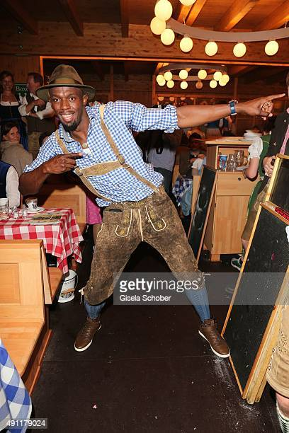 Sprinter and olympic champion Usain Bolt during the Oktoberfest 2015 at Theresienwiese on Oktober 03 2015 in Munich Germany