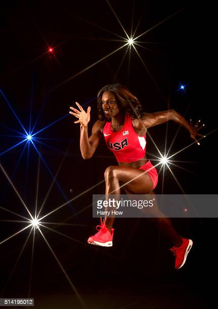 Sprinter Dawn HarperNelson poses for a portrait at the 2016 Team USA Media Summit at The Beverly Hilton Hotel on March 7 2016 in Beverly Hills...