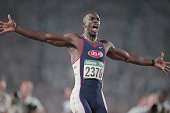 US sprinter Michael Johnson wins the 200meter run setting a world record of 1932 seconds at the 1996 Atlanta Olympic Games