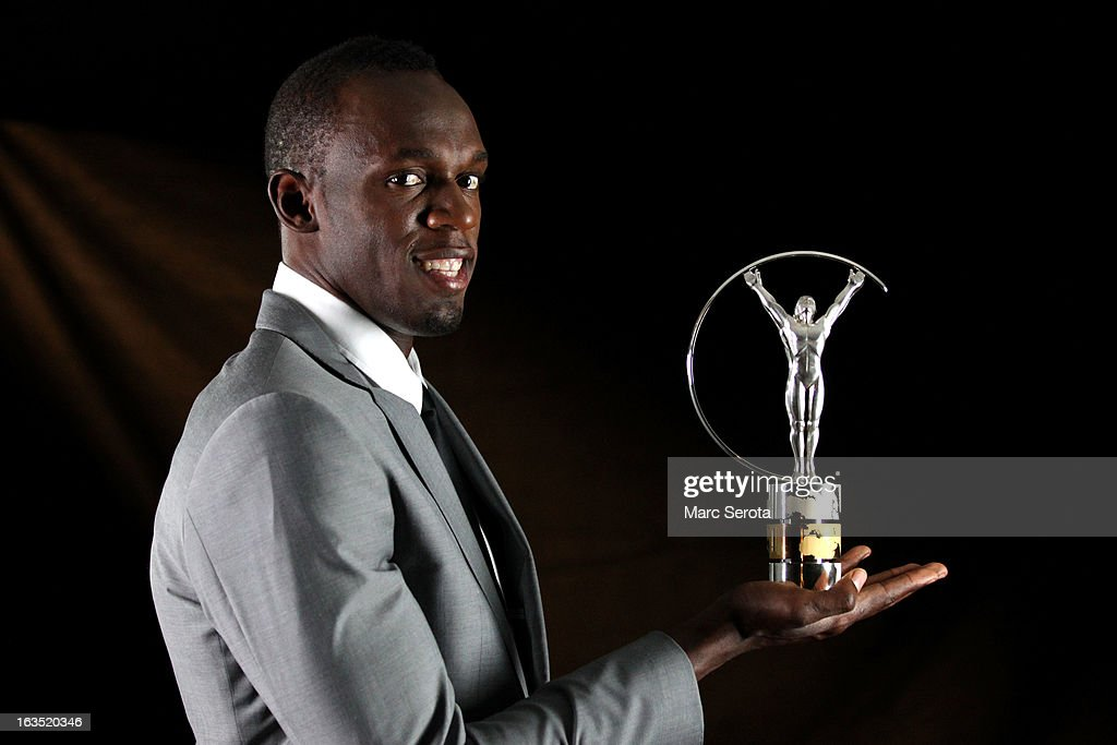 Sprinter <a gi-track='captionPersonalityLinkClicked' href=/galleries/search?phrase=Usain+Bolt&family=editorial&specificpeople=604196 ng-click='$event.stopPropagation()'>Usain Bolt</a> of Jamaica poses with the award for Laureus World Sportsman of the Year in the winners studio during the 2013 Laureus World Sports Awards at Theatro Municipal do Rio de Janeiro on March 11, 2013 in Rio de Janeiro, Brazil.