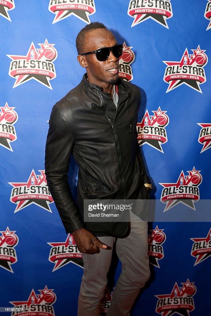 Sprinter <a gi-track='captionPersonalityLinkClicked' href=/galleries/search?phrase=Usain+Bolt&family=editorial&specificpeople=604196 ng-click='$event.stopPropagation()'>Usain Bolt</a> poses on the All-Star Red Carpet prior to the 2013 NBA All-Star Game presented by Kia Motors on February 17, 2013 at the Toyota Center in Houston, Texas.