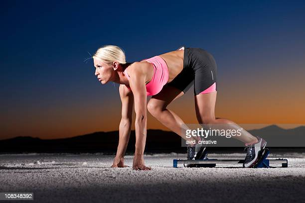 Sprinter Woman at Sunset