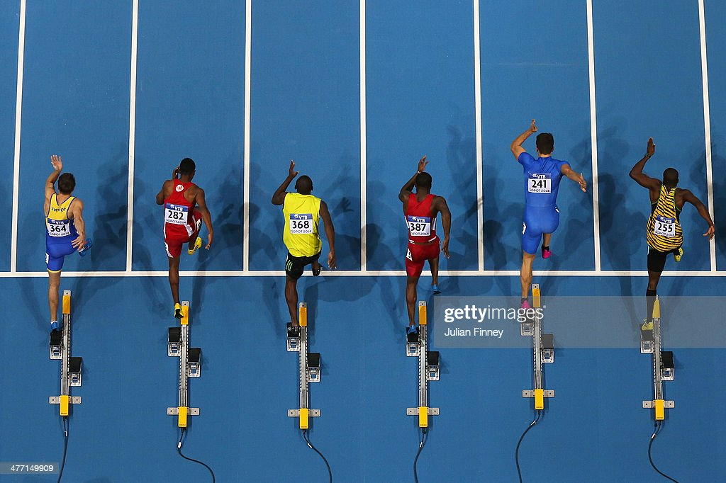Sprinters leave the blocks in heat 1 of the Men's 60m during day one of the IAAF World Indoor Championships at Ergo Arena on March 7, 2014 in Sopot, Poland.