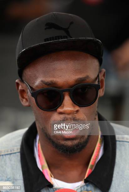 Sprinting legend Usain Bolt in the Paddock before the United States Formula One Grand Prix at Circuit of The Americas on October 22 2017 in Austin...