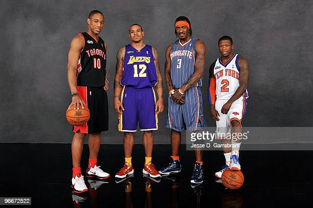 Sprite Slam Dunk Contest contestants DeMar DeRozan of the Toronto Raptors Shannon Brown of the Los Angeles Lakers Gerald Wallace of the Charlotte...