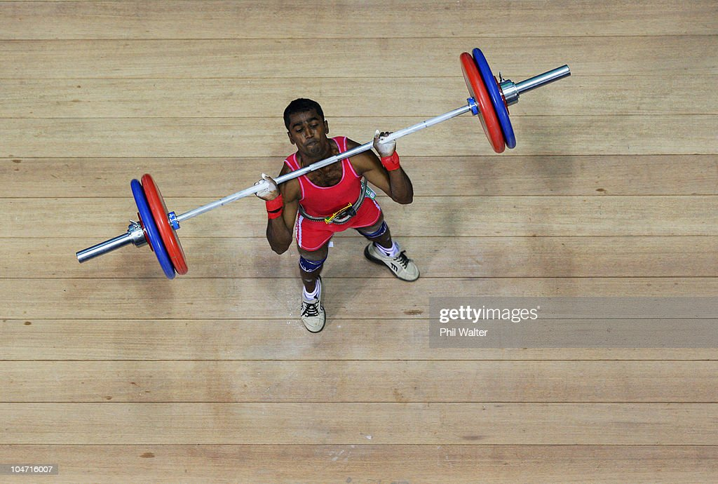 S.Priyantha Wijesuriy Chandadara Sirisenage of Sri Lanka competes in the Mens 56 kg weightlifting final during day one of the Delhi 2010 Commonwealth Games at Jawaharlal Nehru Sports Complex on October 4, 2010 in Delhi, India.
