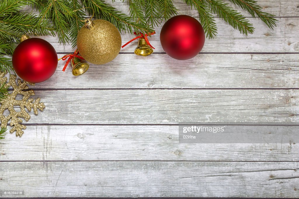 Spruce branches with Christmas decorations. : Stock Photo