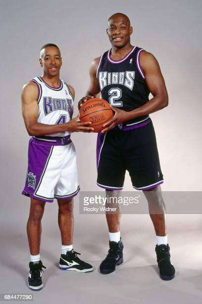 Spud Webb and Mitch Richmond of the Sacramento Kings pose for a picture circa 1995 at Arco Arena in Sacramento California NOTE TO USER User expressly...