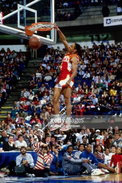 Spud Webb of the Atlanta Hawks dunks during the 1986 Slam Dunk Contest on February 8 1986 at Reunion Arena in Dallas Texas NOTE TO USER User...