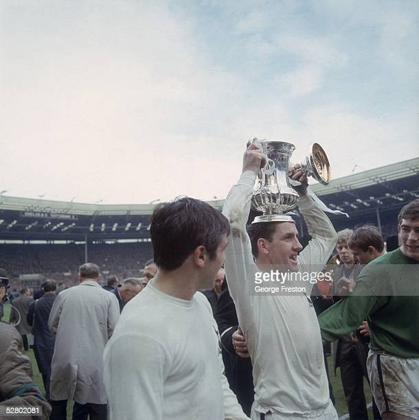 Spurs captain Dave Mackay holding the FA Cup on his head as he celebrates Tottenham Hotspur's 21 win over Chelsea in the FA Cup Final at Wembley...