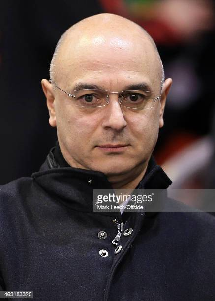 Spurs Chairman Daniel Levy looks on before the Barclays Premier League match between Liverpool and Tottenham Hotspur at Anfield on February 10 2015...
