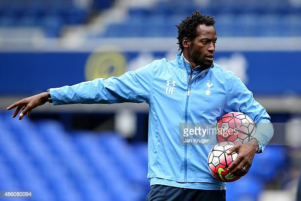 Spurs coach Ugo Ehiogu looks on prior to kick off during the Premier League International Cup between Everton U21 and Tottenham Hotspur U21 at...