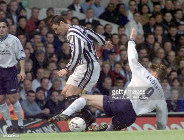 Spurs Darren Anderton puts pressure on Newcastle's Philippe Albert during the FA Carling Premiership match at White Hart Lane today Photo by Adam...