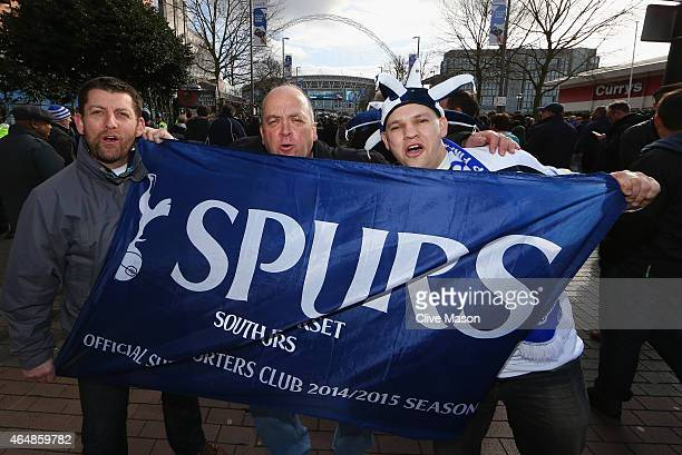 Spurs fans show their colours prior to the Capital One Cup Final match between Chelsea and Tottenham Hotspur at Wembley Stadium on March 1 2015 in...