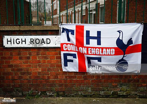 Spurs flag is displayed prior to the Barclays Premier League match between Tottenham Hotspur and Arsenal at White Hart Lane on February 7 2015 in...