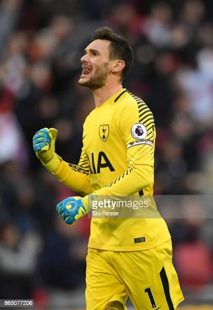 Spurs goalkeeper Hugo Lloris celebrates a goal during the Premier League match between Tottenham Hotspur and Liverpool at Wembley Stadium on October...