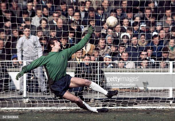 Spurs goalkeeper Pat Jennings in action during a penalty competition at Wembley Stadium in London on 7th March 1970