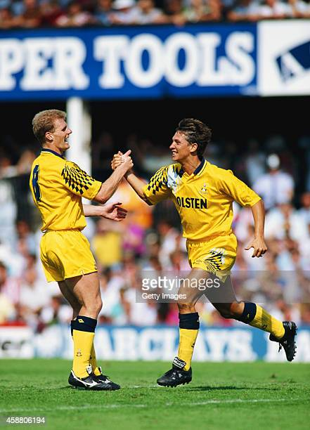 Spurs goalscorers Gordon Durie and Gary Lineker celebrate a goal during the League Division One match between Southampton and Tottenham Hotspur at...