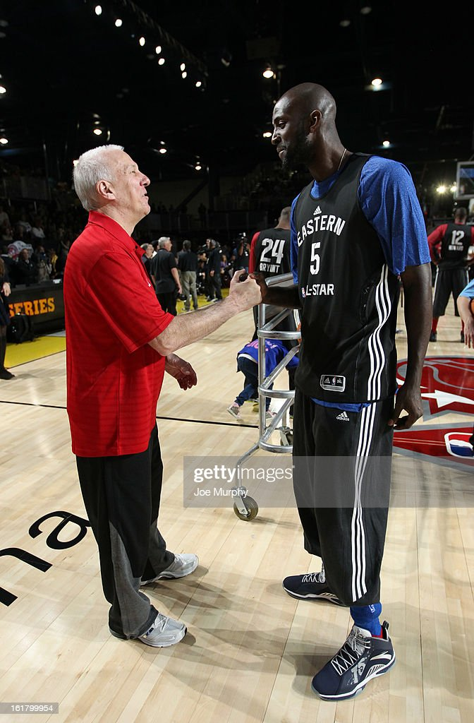 Spurs head coach Gregg Popovich talks with Kevin Garnett #5 of the Boston Celtics during the NBA All-Star Practice in Sprint Arena during the 2013 NBA All-Star Weekend on February 16, 2013 at the George R. Brown Convention Center in Houston, Texas.