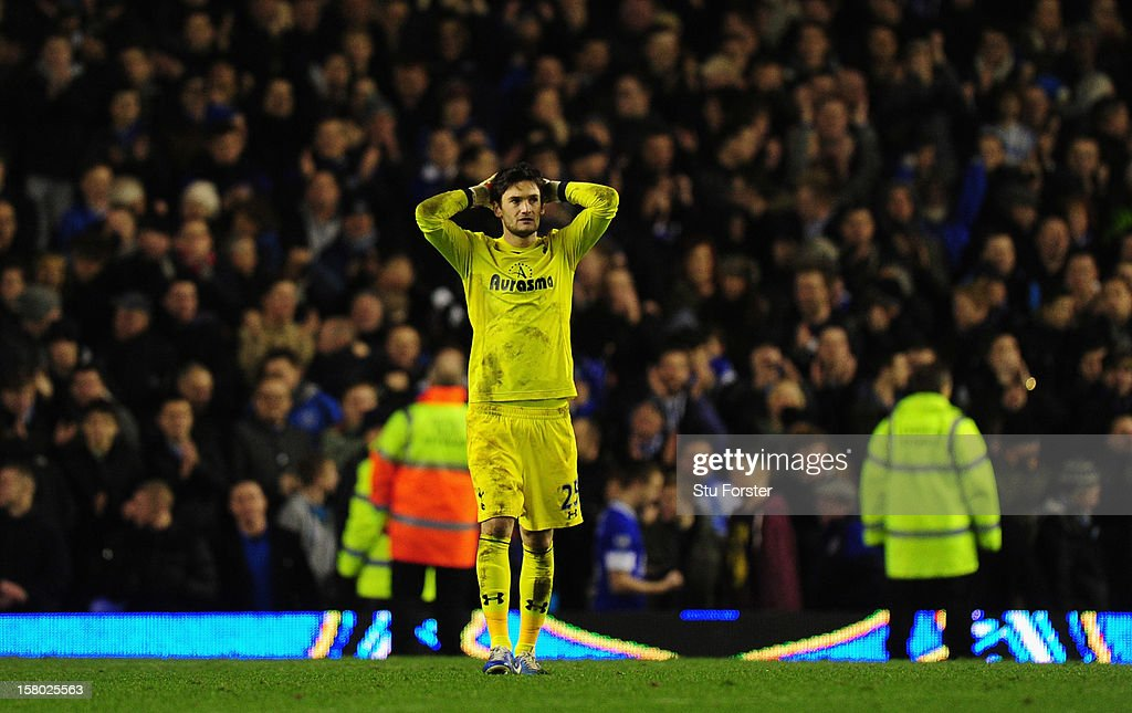 Spurs keeper Hugo Lloris looks on dejectedly after the Barclays Premier game between Everton and Tottenham Hotspur at Goodison Park on December 9, 2012 in Liverpool, England.