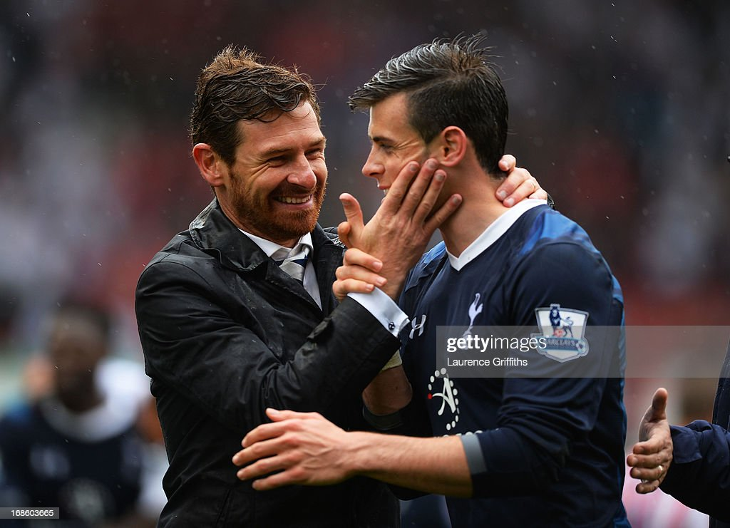 Spurs manager Andre Villas-Boas congratulates <a gi-track='captionPersonalityLinkClicked' href=/galleries/search?phrase=Gareth+Bale&family=editorial&specificpeople=609290 ng-click='$event.stopPropagation()'>Gareth Bale</a> following their team's 2-1 victory during the Barclays Premier League match between Stoke City and Tottenham Hotspur at Britannia Stadium on May 12, 2013 in Stoke on Trent, England.