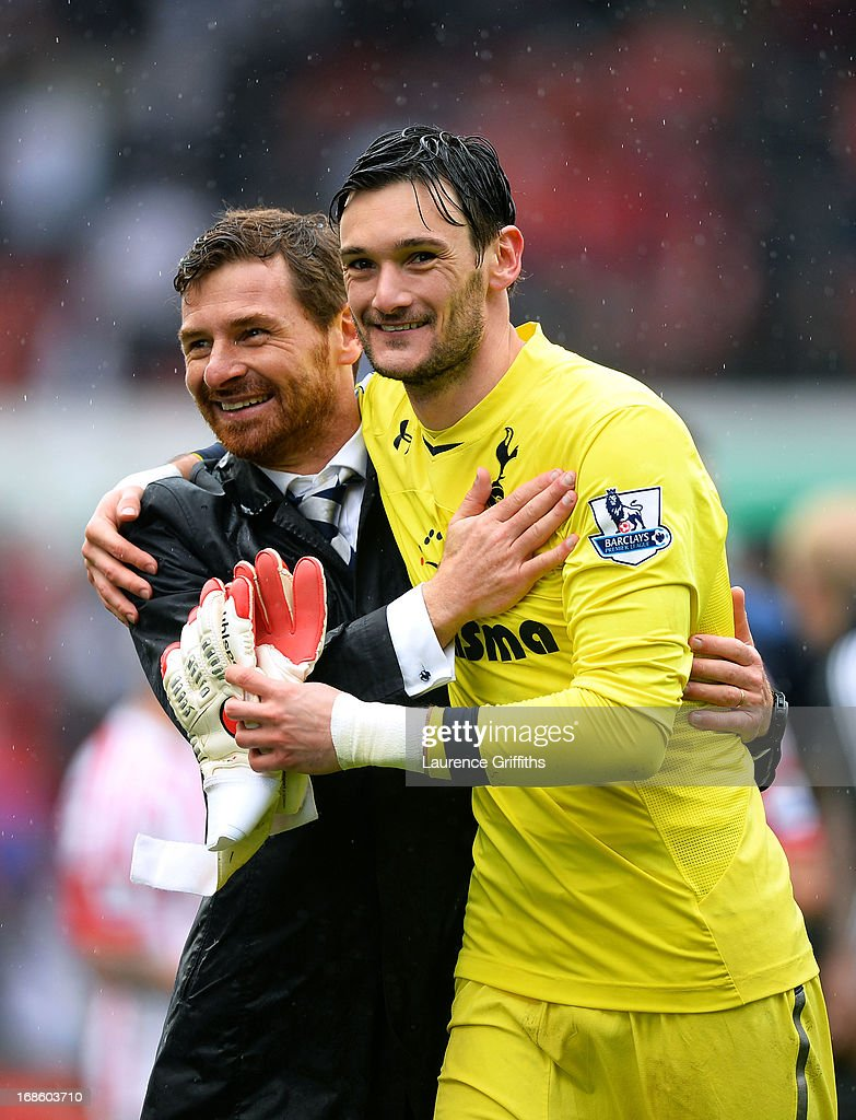 Spurs manager Andre Villas-Boas congratulates goalkeeper <a gi-track='captionPersonalityLinkClicked' href=/galleries/search?phrase=Hugo+Lloris&family=editorial&specificpeople=2501893 ng-click='$event.stopPropagation()'>Hugo Lloris</a> following their team's 2-1 victory during the Barclays Premier League match between Stoke City and Tottenham Hotspur at Britannia Stadium on May 12, 2013 in Stoke on Trent, England.