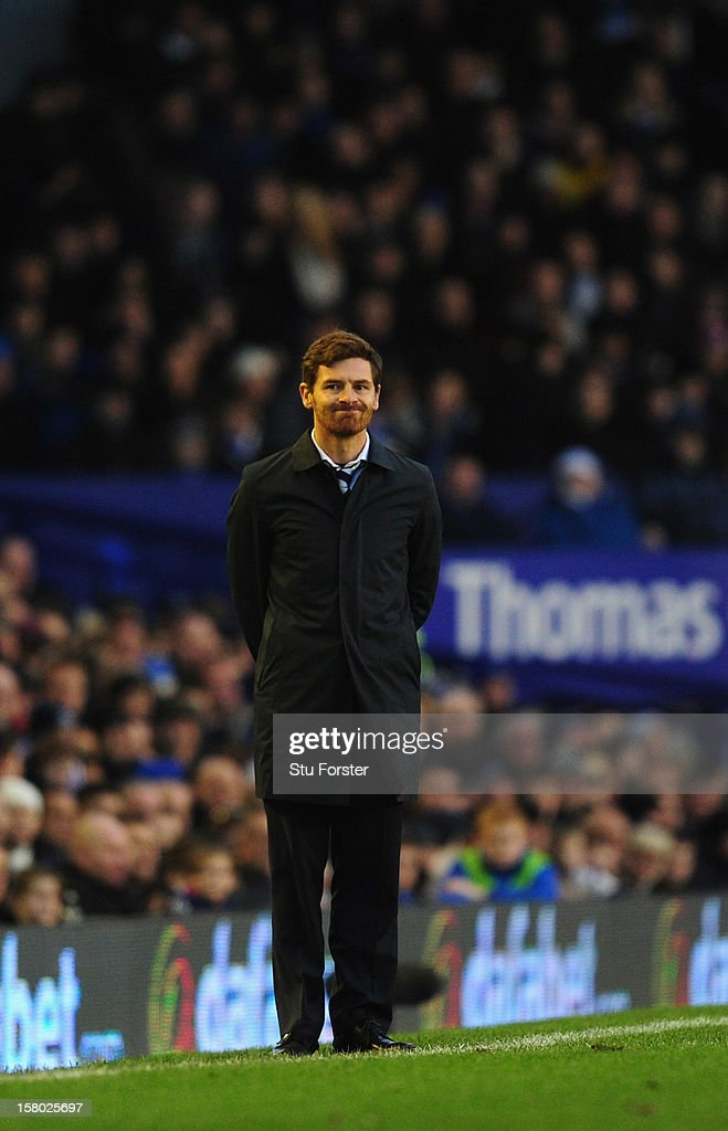 Spurs manager Andre Villas-Boas look on during the Barclays Premier between Everton and Tottenham Hotspur at Goodison Park on December 9, 2012 in Liverpool, England.