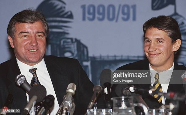 Spurs manager Terry Venables and striker Gary Lineker pictured at a press conference on November 20 1991 in London England