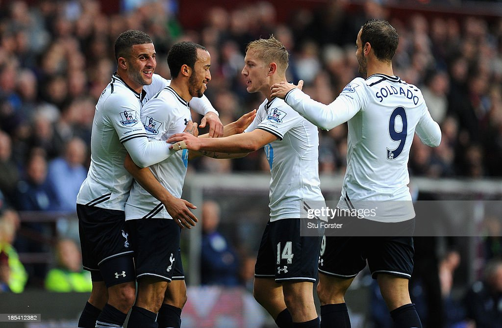 Spurs player <a gi-track='captionPersonalityLinkClicked' href=/galleries/search?phrase=Andros+Townsend&family=editorial&specificpeople=4266573 ng-click='$event.stopPropagation()'>Andros Townsend</a> (2nd left) sheepishly celebrates his goal with team mates after opening the scoring during the Barclays Premier League match between Aston Villa and Tottenham Hotspur at Villa Park on October 20, 2013 in Birmingham, England.