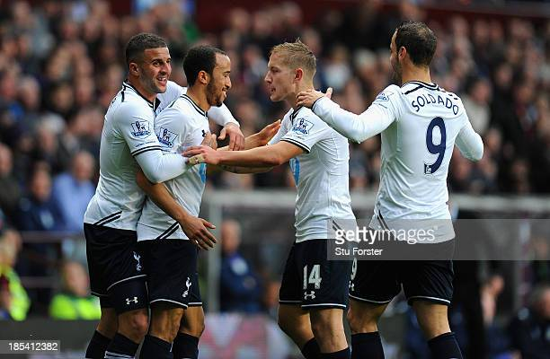 Spurs player Andros Townsend sheepishly celebrates his goal with team mates after opening the scoring during the Barclays Premier League match...