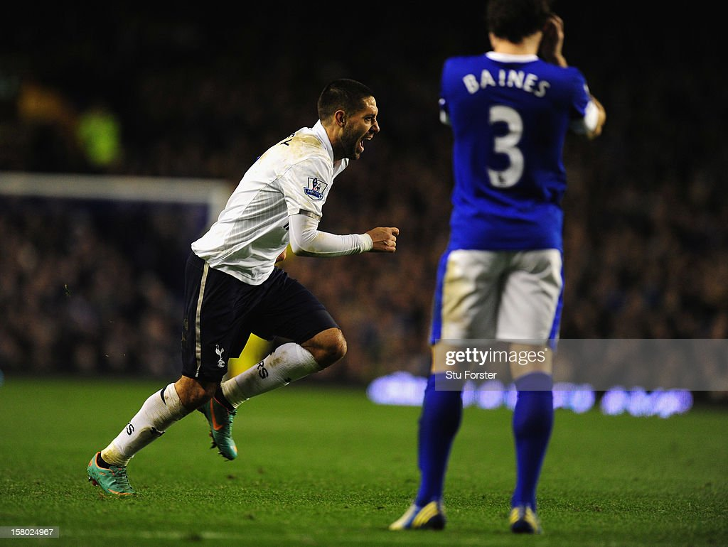 Spurs player Clint Dempsey celebrates the opening goal during the Barclays Premier game between Everton and Tottenham Hotspur at Goodison Park on December 9, 2012 in Liverpool, England.