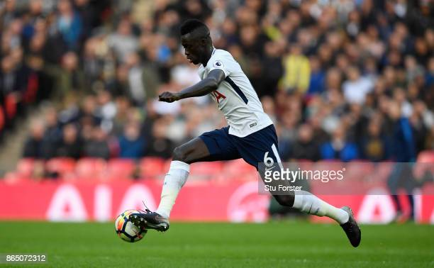 Spurs player Davinson Sanchez in action during the Premier League match between Tottenham Hotspur and Liverpool at Wembley Stadium on October 22 2017...