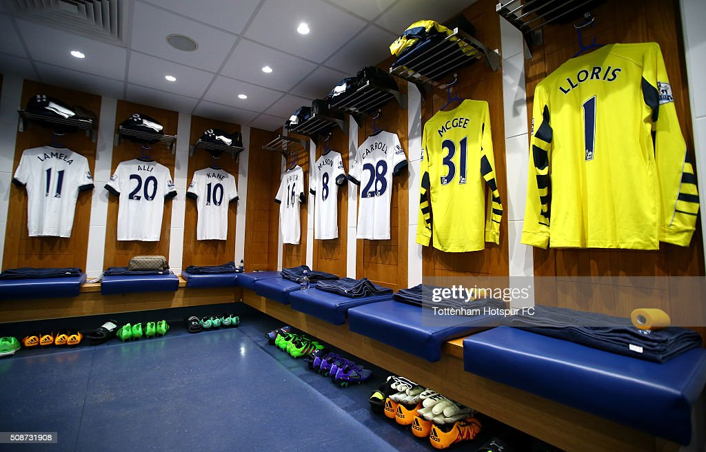 Spurs shirts hang in the changing room prior to the Barclays Premier League match between Tottenham Hotspur and Watford at White Hart Lane on February 6, 2016 in London, England.